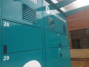 Refrigeration vents on the new click/collect lockers.