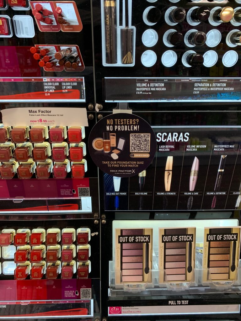 Retail image of the day Cosmetics QR codes